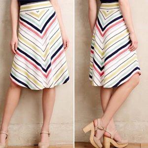 Anthropologie Maeve Striped Chevron Skirt Size XL